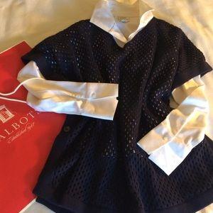 NWOT Talbots navy open knit poncho Small